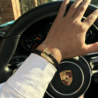 party nägel großhandel-Mcllroy Armbänder Männer Brackelts Armreifen Pulseiras 6mm Weben Echtes Leder Nagel Armband Charme Liebe Manschette Armband masculina