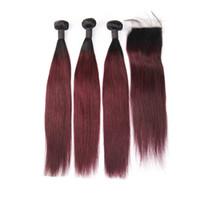 ingrosso chiusura in pizzo di fasci borgogna-3 Bundles capelli umani con chiusura Ombre capelli lisci peruviani 1B Borgogna colore rosso 99J Bundle Two Tone con chiusura in pizzo