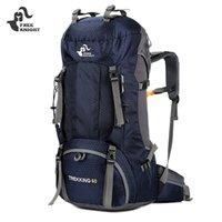 yürüyüş sırt çantası yağmurluk toptan satış-ÜCRETSIZ KNIGHT 50L / 60L Yürüyüş Kamp Sırt Çantası Açık Çanta Sırt Çantaları Naylon Spor Çanta Tırmanma Yağmur Kapağı ile Seyahat için