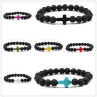 Wholesale Black Stone Cross Bracelet - 8mm natural black Lava Stone Beads Cross Charm Bracelet Essential Oil Perfume Diffuser Bracelets Women Yoga Jewelry