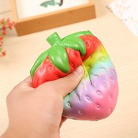 Wholesale fruit retail - HOTTEST 12cm big Colossal strawberry squishy jumbo simulation Fruit kawaii Artificial slow rising squishies queeze toys bag phone charm