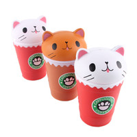 Wholesale coffee children - Cat Squishy Toys Coffee Cup Squishies Cute Animal Slow Rising Vent Children Toy Gifts New 14cm Jumbo 14mj C