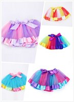 ingrosso abito sfera stati uniti-2018 Europa e Stati Uniti Spring Rainbow Skirt Children Mesh Stitching Striped Princess Tutu skirt
