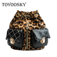Wholesale girls leopard school bags for sale - Group buy TOYOOSKY Women Backpack Leopard Print Shoulder Bag Winter School Bags For Teenagers Girl Travel Backpack PU Leather bags