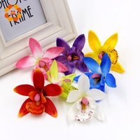 Wholesale White Orchid Heads - Wholesale-50pcs lot 7.5cm Orchid Silk Artificial Flower Head For Wedding Decoration DIY Wreath Gift Scrapbooking Craft Fake Flower