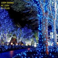 árvores de natal ao ar livre a pilhas venda por atacado-100 M / 800 LEVOU Fada LED String Luz Ao Ar Livre À Prova D 'Água AC220V Holiday Corda Festão Para Festa de Casamento de Natal de Natal