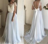 karışık renkli gece elbiseleri toptan satış-Karışık Renk Tozlu Mavi Beyaz Gelinlik Modelleri Bateau Boyun Kısa Kollu Dantel Tül Backless Abiye Kat Uzunluk Resmi Elbiseler