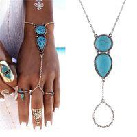 Wholesale vintage slave bracelet - Bohemian Women Chain Turquoise Bracelets Ethnic Vintage Floral Stone Beads Contacting Finger Bangles Slave Chain Bracelets Anklet