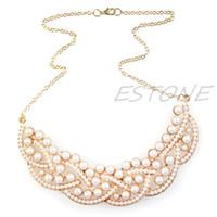 Wholesale Jewelery Pearls - whole saleNew hot Imitation Pearl Hollow Gold Choker Bib Collar Statement Necklace Pendant Jewelery