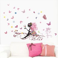 Wholesale wallpaper room for sale resale online - Hot sale New Flower Angel fairy Wall Sticker Home Decor Wallpaper for Kids Children girl Room Decoration