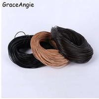 collar de cadena de cuerda de 1 mm al por mayor-Cordón de la joyería 1mm 2mm 3mm Cuerda de cuero genuino Cuerda de la cuerda Color de la mezcla de los granos Cord para el collar de la pulsera Joyería de la cadena de artesanía