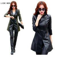 Wholesale vintage leather trench - Wholesale- Oblique Zipper Leather Jacket Women Spring Plus Size 3XL 4XL 5XL Slim Faux Pu Outerwear Long Women Leather Trench Coat Female