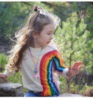 kids rainbow t shirts NZ - Autumn Baby Girls Long Sleeve Sweatershirt Rainbow casual cotton printed kids Cotoon T shirt children Tops Outwear girl Clothes