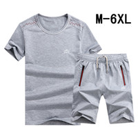 Wholesale shirts large - 6XL Male Large Yard Running Suit Casual Summer Mens Tracksuit T Shirt With Jogger Short Pants New Fashion Wear