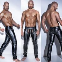 ingrosso maschio esotico-High Elastic Mens Nero Leggings in lattice di ecopelle nera Wetlook Bondage Active Exotic Pants Gay Maschio Clubwear