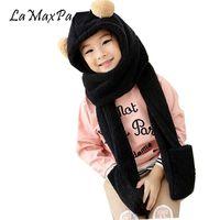 Wholesale children scarf gloves - LaMaxPa Winter Warm children Hoodie Gloves Pocket Earflap Hat Long Scarf Shawl Snood Wraps Cute Bear Headscarf Childhood Memory