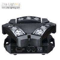 ingrosso scanner di illuminazione-2 Pz / lotto Zita Lighting Spider Lights 9 Eyes LED Moving Head Triangolo rotante 9X12W RGBW Stage Lighting Beam Scanner DMX512 DJ Effetto discoteca