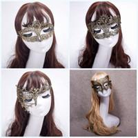 beaux masques achat en gros de-Demi Face Halloween Party Mascarade Fox Fantaisie Élégant Beaux Masques Danse De Mode Couleur Placage Or Dentelle Masque 3 2yk jj