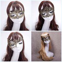 ingrosso belle maschere-Mezza faccia Halloween Party Masquerade Fox Fancy Elegante Belle maschere Dance Fashion Coloratura Gold Lace Mask 3 2k jj