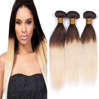 Wholesale hair chestnut - Indian Brown and Blonde Ombre Human Hair Weave 3 Bundles Two Tone 4 613 Chestnut Brown Roots Blonde Ombre Hair Extensions