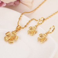 Real Solid 14 k Yellow Gold GF New Bride's big Flower Pendant earrings Statement Necklace Jewelry Sets party Romantic fine gifts