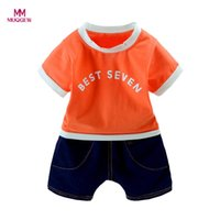 top selling kids clothes Australia - 2Pcs Infant Baby Boys Girls Letter T-Shirt Tops+Denim Shorts Clothes Cartoon Kids Set Outfits Best Selling
