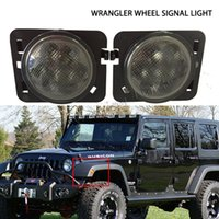 Wholesale Fender Flares - pair LED wheel signal light warning fender flare Lamp for Jeep Wrang JK 07-15 turn signal front fender rear wheel amber light