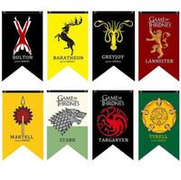 hausfahnen groihandel-18 Styles 75 * 125cm Game of Thrones Flags Garden Flag DIY Liene Yard Dekorative hängende Hauptdekoration Bannerwerbung Fahnen CCA9387-A-20pcs