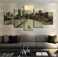 cartaz da foto da arte venda por atacado-Imagens modulares HD Impresso Canvas Frame Pintura Home Wall Art Photo Decor 5 Painéis Filme Poster Paisagem PENGDA