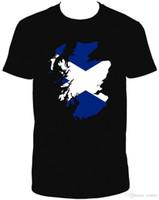 ingrosso bandiere scozia-SCOTLAND FLAG TSHIRT MAP NERO COTONE A MANICHE CORTE