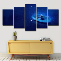 Wholesale boat landscape painting resale online - 5PCS Canvas Wall Art Canvas Painting Landscape Wall Pictures Panel Cartoon Moon River Boat For Living Room HD Print Frame PENGDA