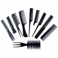 berber tarakları toptan satış-10 adet / takım Profesyonel Saç Fırçası Tarak Salon Kuaför Anti-statik Saç Combs Saç Fırçası Kuaför Combs Saç Bakımı Şekillendirici ...