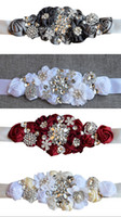 Wholesale sequin satin belts for sale - Group buy 2019 New Wedding Sashed Belt Silk Satin Handmade Flowers With Sparkly Crystal Beaded Sequin Cheap Burgundy Champagne Bridal Sash Belt White