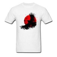 encre noire achat en gros de-Dark Crow 2018 Naruto Uchiha Itachi Peinture à l'encre T Shirt Hommes Rouge Lune Blanc Tops Tee Shirts Coton Vêtements Grande Vente