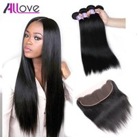 Wholesale 3bundles brazilian weave online - Cheap A Brazilian Hair Wefts Straight Hair Bundles With Lace Frontal Closure Bundles With x4 Ear to Ear Lace Frontal Closure