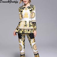 modèles de costume vintage achat en gros de-2018 Autumn Fashion Designer Costume Pantalon Costume À Manches Longues Imprimé Motif Femmes Top Vintage Pantalon Ensemble De Deux Pièces