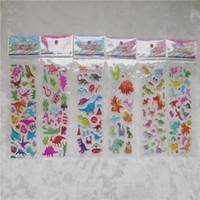 Wholesale Dinosaur Stickers - 100Pcs Random Style Funny 3D Cartoon Dinosaur PVC Bubble Stickers Birthday Gift Children Toys Notebook Album Memo Stickers