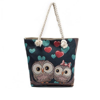 Wholesale shoulder bag owl resale online - 2017 Women Shoulder Bags National Casual Canvas Owl Embroidery Fashion Bags White Ropes Bags