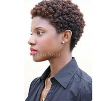 brazilian bakire afro kıvırcık peruk toptan satış-Afro Kinky Kıvırcık Ünlü kısa kesilmiş tutkalsız pixie kısa kıvırcık saç peruk bakire brezilyalı tam dantel İnsan saç peruk