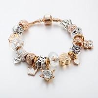 ingrosso turchese in rame nero-Vendita calda Pandora braccialetto di perline di cristallo Corona amore pendenti di fiocco di neve donne braccialetto di moda in lega oro placcato
