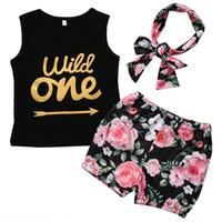 bebek çiçek kafa bandı toptan satış-Yaz 2018 Rahat Yürüyor Bebek Çocuk Kız Giyim Seti Yelek Üstleri + Çiçek Pantolon + Kafa 3 ADET Kıyafetler Yenidoğan Çiçek Yaz Giyim Seti