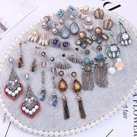 akrilik inci küpeleri toptan satış-ÖP BENI Trendy Geometrik Geometrik Taç İmitasyon İnci Akrilik Kristal Damla Küpe Kadınlar için Moda Takı