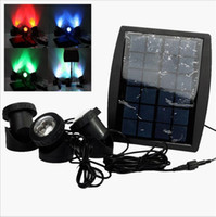 Wholesale underwater solar lights - 18 LEDs Solar Powered 3 Lamps Landscape Spotlight Projection Light for Garden Pool Pond lawn square Outdoor Lighting Underwater Lights