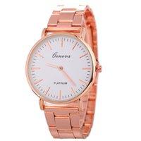 Wholesale Geneva Classic Watch - Fashion mens classic no second pointer geneva metal alloy watch wholesale 2018 unisex women simple design quartz wrist watches