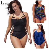bodysuit mulheres tamanho grande venda por atacado-5XL Grande Grande Plus Size Swimwear Para As Mulheres Sexy One Piece Swimsuit 2018 Emagrecimento Feminino Impressão Retro Praia Maiô Bodysuit