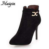 черные туфли на каблуках оптовых-Maigin 10 см высокие каблуки женщины ботильоны острым носом черный красный Bootie женщина 2018 новая осень Женская обувь сторона Zip удобная обувь
