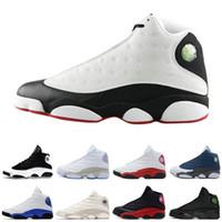 новые ботинки для армии оптовых-Новый 13 13s баскетбол обувь черный кот Hyper Royal оливковое пшеницы армия зеленый синий Чикаго 13s спортивная обувь кроссовки тренер бесплатная доставка