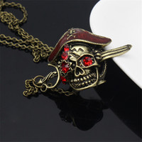 Wholesale pirate style necklaces for sale - Group buy 1pcs Womens Sexy Fashion Antique Bronze Pirate skull rubine necklace Vintage punk style pendant for Women Girl Jewelry Wholesal