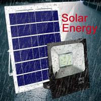 panel reflector al por mayor-Luces solares de césped 100W Panel con energía solar Led control remoto Luces de inundación reflector exterior Jardín exterior Luz de calle