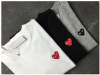 frauen langarmhemd muster großhandel-Mens Designer Shirt Sommer Tops T Shirts für Männer Frauen Langarm Shirt Kleidung Liebe Herz Muster Stickerei Rundhalsausschnitt